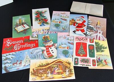 Unused Lot of 13 Vintage Christmas Greeting Cards Some w Glitter
