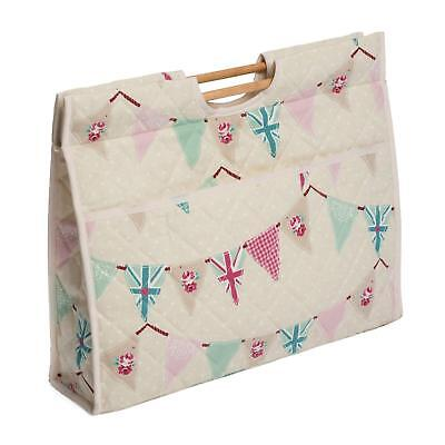 Knitting Bag Sewing Bag Craft Bag With Wooden Handles 100% Bunting Design