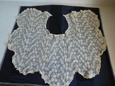 """Antique vintage LACE COLLAR VERY DEEP 9""""-12"""" Flowing Drapes beautifully ECRU"""