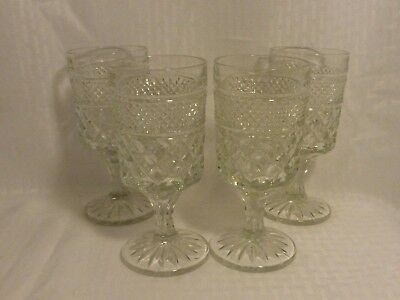 4 ~ vintage Anchor Hocking diamond pattern Wexford Crystal Water Goblets glasses