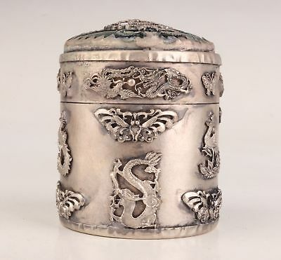 Tibetan Silver Hand Carved Dragon Phoenix Butterfly Statue Box Toothpick Old
