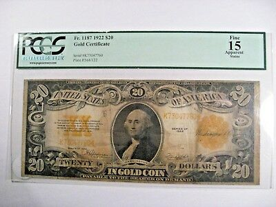 1922 $20 GOLD Certificate. Fr. 1187. PCGS Fine 15 Apparent- stains. # K73047760