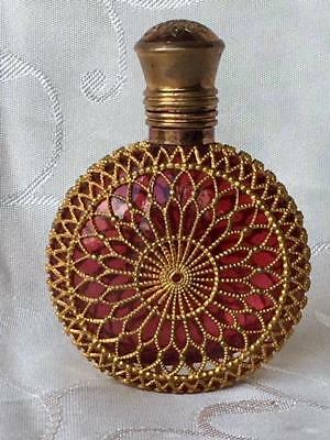 Large Antique Cranberry Glass Gilt Ormolu Mounted Perfume Scent Bottle C1880