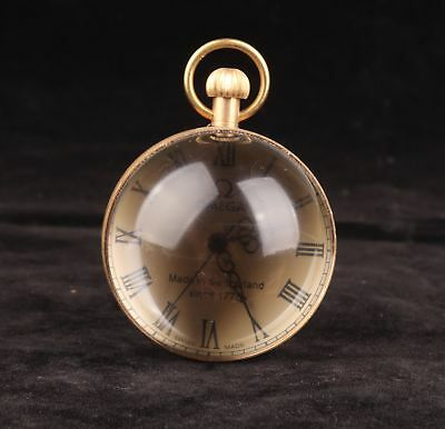 Brass Crystal Ball Magnifying Clock Old Collection Pendant Mechanical Watch