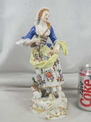 "Fine 10"" 20Th C Meissen Lady And Lamb Floral Figure"