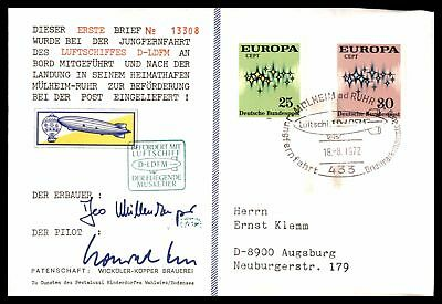 Luftschiffes D Ldfm Airship Aug 18 1972 Cachet On Cover Signed By Pilot