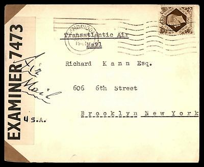 Cambridge Oct 30 1941 Single Franked Air Mail Censored Cover To Brooklyn Ny Usa