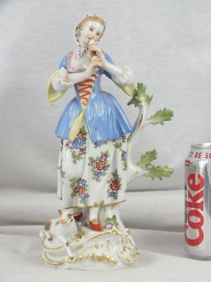 "Fine 9.5"" 20Th C Meissen Lady Musician And Lamb Figure"