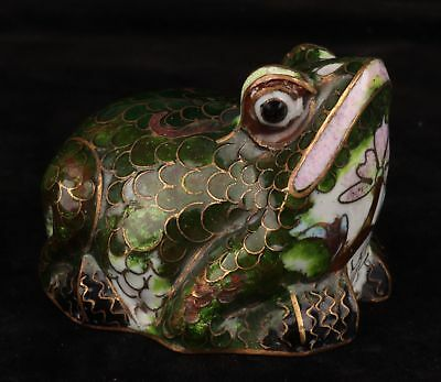 Cloisonne Hand-Carved Rare Frog Animal Statue Figurine Collection