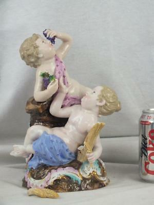 "Good Large 10"" 19Th C Meissen Porcelain Cherubs Grapes Wheat Sheath Figure Group"