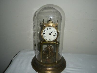 Juf Standard Early Anniversary Clock in Glass Dome, Needs Attention.