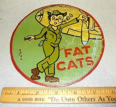 Us Army Air Forces Wwii Squadron Patch Insignia Fat Cats Might Be Austrailia