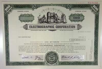 Electrographic Corp 1975 Specimen Stock Certificate 100 Shrs XF FBN