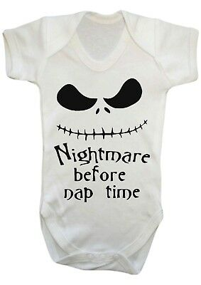 Sale Baby Boy Girl Nightmare Before Nap Time Vest,babygrow,bodysuit,12-18 Months