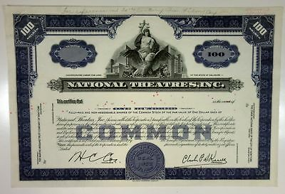 National Theatres, Inc., 1952 100 Shrs Proof Stock Certificate, XF SBNC -Blue
