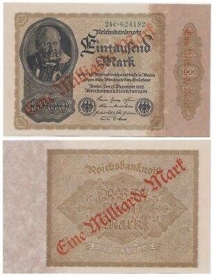 One Milliard Marks German banknote issued in 15.12.1922 24c aunc overprinted