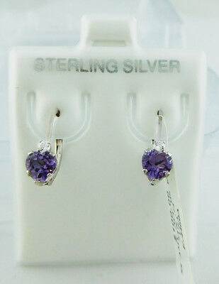 GENUINE 1.15 Cts AMETHYST EARRINGS .925 Sterling Silver * Brand New With Tag *