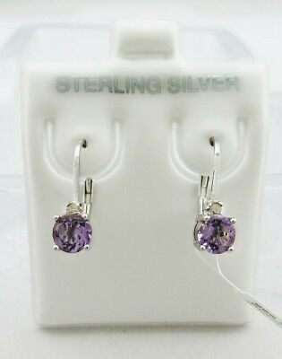 GENUINE 0.72 Cts AMETHYST & DIAMONDS EARRINGS .925 Sterling Silver ** NWT