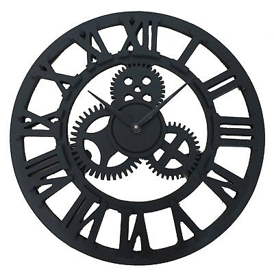 Traditional Vintage Style MDF Wall Clock Roman Numerals Home Decor Skeleton 40CM