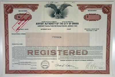NE. Airport Authority of the City of Omaha, 1984 Specimen Bond -Brown