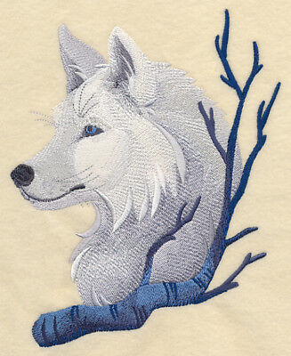 Embroidered Long-Sleeved T-Shirt - Wintery Wolf L8943 Sizes S - XXL