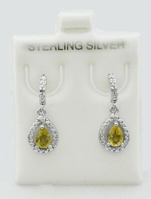 GENUINE 1.43 Cts YELLOW TOPAZ & DIAMONDS DANGLING EARRINGS .925 Sterling Silver