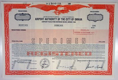 NE. Airport Authority of the City of Omaha, 1989 Specimen Bond -Orange