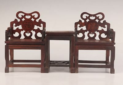 3 Unique Old Wood Carving Art Table Stool Statue Decoration Armchair
