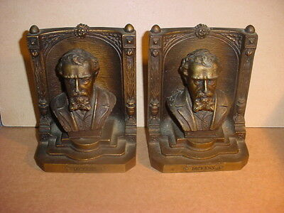 Pr. Antique Bradley & Hubbard Bookends w/Charles Dickens Busts