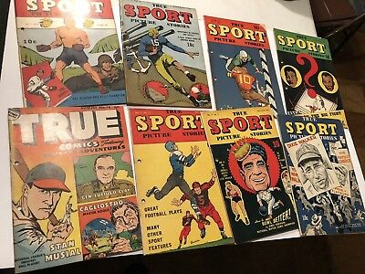 10-1940's SPORTS COMIC BOOKS Edge Punch Holes Otherwise NICE Louis-Musial STARS