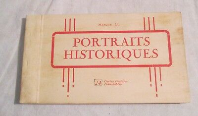 French Booklet of 24 Postcards -- HISTORIC PORTRAITS -- Levy & Neurdein Reunis