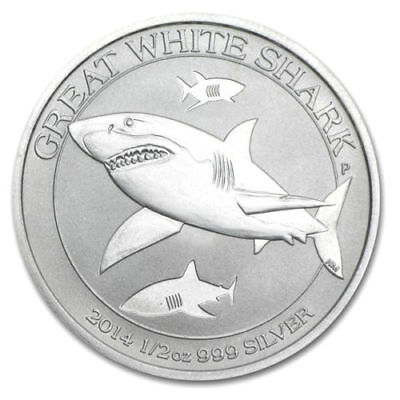 2014 Australia Great White Shark 50c Fifty Cent Solid Fine 999 Silver 1/2oz Coin