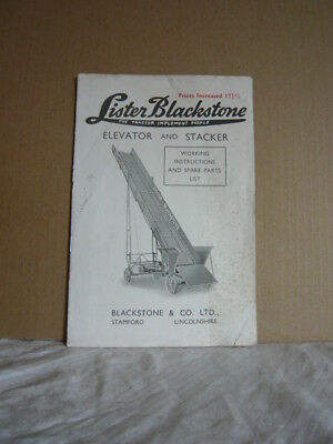 Vintage Lister Blackstone Elevator Stacker 1947 Instructions Parts