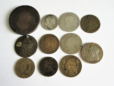 Job Lot of various GEORGIAN & VICTORIAN COINS x11 - 60g - Some silver!