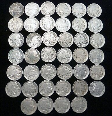 Lot of (40) 1 ROLL Assorted Dates and Mint Marks Buffalo Nickels U-Grade
