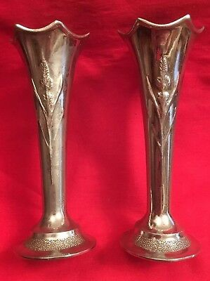 Pair Of Vintage English Silver Plated Spill Vases c.1930's