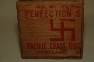 Pacific Coast Biscuit Co Portland Or - Wooden Box 1900s w/ Swastika Type Label