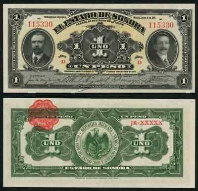 Currency 1 January1915 State of Sonora Mexico One Peso Series D Banknote S1071