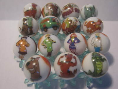 SCOOBY DOO 5/8 size lot of glass marbles + stands
