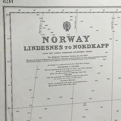 Antique Nautical Chart NORWAY Lindesnes to Nordkapp 1967 Map Maritime