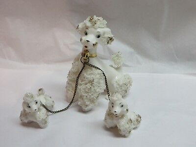 Vintage Poodle Dog Porcelain Spaghetti Mom and Puppies~White w/ Gold Trim