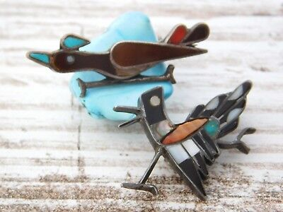 Vtg LOT of Old Pawn NAVAJO ZUNI Turquoise Exotic Shell ROAD Runner Pin BROOCH