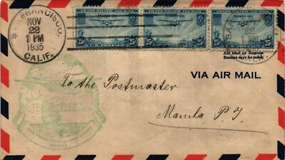 Dr Jim Stamps Us Cover First Flight San Francisco To Manila Air Mail 1935