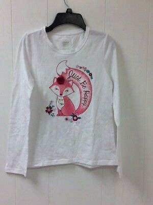 Faded Glory Girl's Fox Just Be Happy Long Sleeve Top Large 10/12