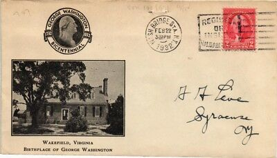 Dr Jim Stamps Us Cover George Washington Bicentennial Wakefield Virginia 1932