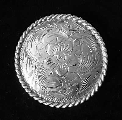 Vintage Sterling Silver FLEMING Hand Engraved Large Concho Pin GORGEOUS Signed