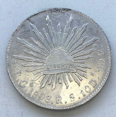 1893  MEXICO CAP & RAYS 8R  Go.  R.S.  8 REALE  NoRs