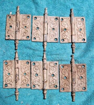 "6 Antique ornate cast iron steeple hinges hardware 3 1/2"" x 3 1/2"" VICTORIAN"