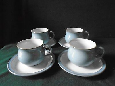Four Denby Colonial Blue Cups and Saucers