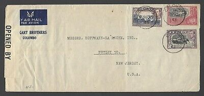 Ceylon KGVI 50c, 1R & 2R red on 1943 censored cover to USA